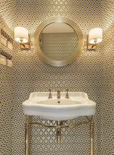 Powder room wallpaper option Cole & Son David Hicks wallpaper + Catchpole & Rye basin by Amber Design Group Downstairs Cloakroom, Downstairs Toilet, Guest Toilet, Small Toilet, Hexagon Wallpaper, Wallpaper Ideas, Trendy Wallpaper, Gold Wallpaper, Wallpaper Toilet
