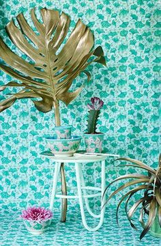 Leaves and Flowers print melamine from the SS17 collection by Rice DK