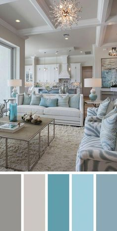 Add interest to your living room with a fresh living room color scheme ideas. Living room color schemes that will make your space look professionally designed. Browse our living room color inspiration gallery to find best color & paint palette ideas. Coastal Living Rooms, Living Room Interior, Beach Living Room, Living Area, Bathroom Interior, Coastal Bedrooms, Colorful Living Rooms, Interior Livingroom, Beautiful Living Rooms