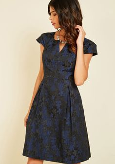 Belle Beginnings A-Line Dress Daisies. Start your night off beautifully by flaunting this ModCloth-exclusive dress. #blue #modcloth