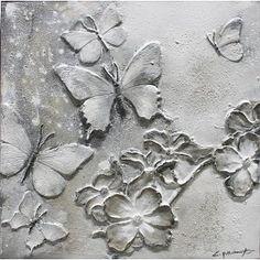 Schilderij Vlinders en bloemen 60x60cm