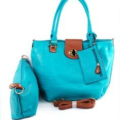 Click Here and Buy it On Amazon.com $47.99 Amazon.com: New Arrival Designer Inspired Fashion 2 in 1 Turn Lock Top Solid Tote Satchel Shopper Handbag Purse with Cosmetic Case / Cosmetic Pouch / Make-up Bag with Adjustable Shoulder Strap and Coin Bag in Turquoise Blue: Clothing