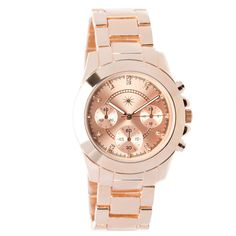 i love this watch- my engagement ring is pink gold so this matches it really well. i love big watches,but don't like gaudy!!!!!!!!!!