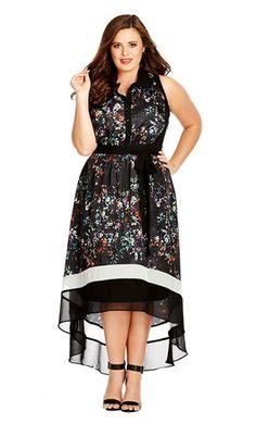 City Chic 'Pretty Folk' Print Sleeveless Fit & Flare Dress (Plus Size) Online Cheap Plus Size Red Dress, Plus Size Maxi Dresses, Plus Size Outfits, Floral Dresses, Sexy Dresses, Amelie, Curvy Fashion, Plus Size Fashion, Ladies Fashion
