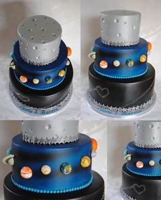 Planet Space Wedding Cake Hi this is one of my favorite cakes from this Year! It was fun to make a non typical Wedding Cake in these colours and with the Planetsall over airbrushed and Planets are hand modelling ; Galaxy Party, Galaxy Cake, Galaxy Wedding, Cupcakes, Cupcake Cakes, Solar System Cake, Alien Cake, Festa Angry Birds, Airbrush Cake