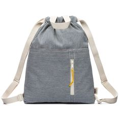 Modern railroad stripe indigo cotton denim drawstring backpack with handles, adjustable shoulder straps and an open and zippered front pocket finished with an Ultrasuede pull. All our cottons bags are soft, lightweight and foldable for maximum comfor Tote Bags, Diy Tote Bag, Drawstring Bag Diy, Diy Backpack, Kids Backpacks, Kids Bags, Cotton Bag, Designer, Indigo