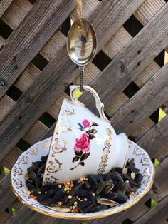 Garden Ornaments, Christmas Ornaments, Garden Bird Feeders, Silver Spoons, Perfect Gift For Her, Upcycled Vintage, Teacup, Gifts For Mom, Cups
