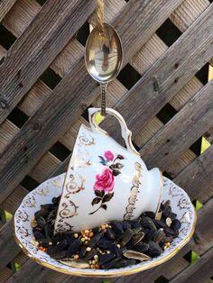 Garden Ornaments, Christmas Ornaments, Garden Bird Feeders, How To Attract Birds, Perfect Gift For Her, Vintage China, Teacup, Spoons, Garden Art
