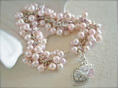 Pearl Bracelet- Pale Pink, Wedding Jewelry, Bridal Jewelry, - Etsy.