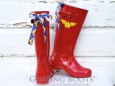 Perfect for the Wonder Woman in your life! Please message me if you would like a different superhero  STAND OUT in the rain! Stay chic on rainy days with our must have boots. Choose your boot and bow color. Then make them all your own by adding a monogram, custom design or your company logo. PRODUCT DETAILS: - water resistant rain boots - boot height 15 - circumference 15 - heel height 1 - run true to size, whole sizes only - ribbons are treated to prevent fraying - allow 1-2 weeks for…
