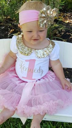 girl first birthday outfit gold and pink pink tutu outfit 2nd Birthday Outfit, Baby Girl Birthday Dress, Girl First Birthday, Birthday Dresses, Tutu Outfits, Girl Outfits, African Dresses For Kids, Girl Birthday Decorations, Baby Tutu