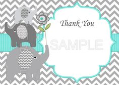 Boy Baby Shower Invitation Baby Shower Invites Baby by diymyparty Elephant Baby Showers, Baby Elephant, Baby Shower Table, Baby Boy Shower, Invitaciones Baby Shower Niña, Baby Shower Cupcake Toppers, Free Thank You Cards, Baby Shower Invitations For Boys, Creations
