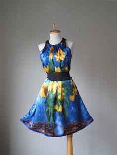 Dress / WEAR ART / Van Gogh / Blue Yellow / Romantic / Dreamy / Soft / Silk / Flowy / Delicate / Tunic / Art Dress