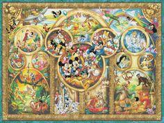 "Disney The Best Themes  - stained glass - 35.43"" x 26.57"" - Cross Stitch Pattern Pdf C678"