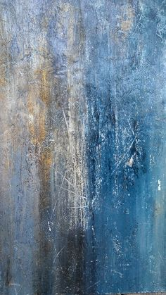 Teal Blue Gold Distressed Abstract Painting 24 x 24 Boho