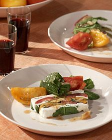 Arugula, Tomato, and Goat-Cheese Terrine--another interesting recipe that I want to try.  I love goat cheese. Love this