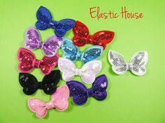 """5 pcs Sequin Butterfly Bow Appliques - Assorted Color - Size 2.75""""- You Choose Color - DIY Headband/Hair Bow/Hair Clip Supplies"""