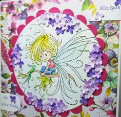 "Birthday card with ""Pixie"" Whimsy Stamps; Designerpaper ""Bohemian"" Dovecraft; Flower die ""Garden Notes - Lilac"" Elizabeth Craft Designs; Border Die ""Dies Banner"" Elizabeth Craft Design; Circles & Scalloped Circles Spellbinders; Sentiment ""Allgemeine Grüße klein"" Iris-istible; Colored with TwinklingsH2O"