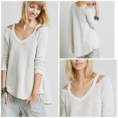 Free People Tunic pullover sweater Perfect free people sweater with open shoulders and textured knitting . Ruching details along sleeves . Swing effect creating a flattering look . Free People Sweaters