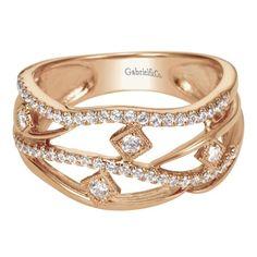 Abstract rose gold diamond ring | Gabriel NY