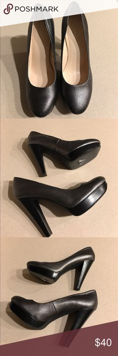 Calvin Klein Black/Gray Platform Heels These black and gray platform heels are comfortable and sturdy. The heel and platform heels are black wood. The shoes is a black/gray pattern combination. In excellent condition. Calvin Klein Shoes Platforms