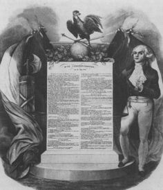 Lithograph by Bérnard which features Robespierre and the Constitution of 1793.