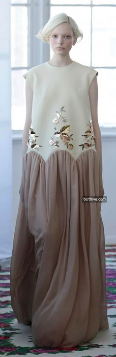 Jesus Del Pozo FW 2014...this would be a nice change to what I normally wear..it looks simply sweet.  Love the simple embellished gold and scalloped cut with gathers.