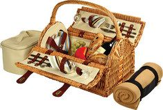 Picnic at Ascot  Sussex Picnic Basket for Two with Blanket - Wicker/Santa Cruz Stripe