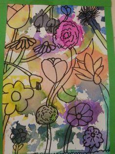 Lyijykynällä, tussilla vahvistus. kukat sekaisin. Maalaus silkkipaperilla; märällä siveltimellä ja silkkipaperilla töpöttämällä 3.lk AHP
