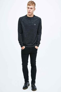 Fred Perry Marled Knit Sweatshirt in Graphite