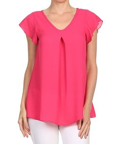 Look at this Coral Flutter-Sleeve Top on #zulily today!