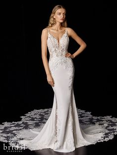 You are sure to be an Instagram superstar in this beauty. PIERETTE features a bold embroidered lace bodice with plunging V-neck and back neckline with delicate straps. The lace hugs over the hips and falls into a soft stretch georgette skirt and then... the train. The back of this gown is jaw-dropping with stunning sheer lace panels that lead into a signature Enzoani train. Buy or rent this couture gown at affordable pricing. Low back, v-neckline, pronovias Couture Wedding Gowns, Lace Wedding Dress, Luxury Wedding Dress, Used Wedding Dresses, Bridal Gowns, Wedding Attire, Elegant Wedding, Bridal Wardrobe, Minimalist Wedding Dresses