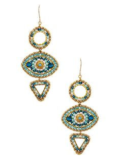 Swarovski Crystal Geometric Drop Earrings by Miguel Ases at Gilt