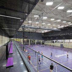 Image 4 of 23 from gallery of Clareview Community Recreation Centre / Teeple Architects. Photograph by Tom Arban Gym Architecture, Sports Stadium, Community Space, Sports Complex, Roof Structure, Sports Images, Swimming Pool Designs, Quad, Building Design