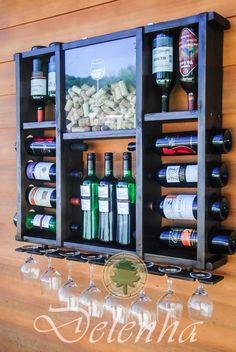 adega madeira p/ 15 vinhos porta taças porta rolhas promoção