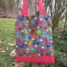 Sac enfant, tote-bag enfant, sac de bibliothèque, dinosaures, pois, rouge, marron, multicolor