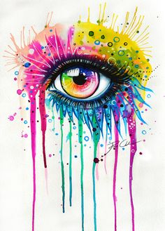 Rainbow by PixieCold. Watercolour, acrylic, surreal,  inspirational, creative, colourful, vibrant, dramatic