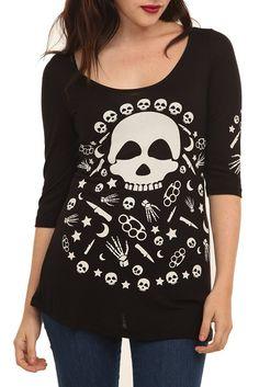 Teenage Runaway Skeleton Zipper Top