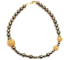 MARIANNE Hartl pyrite silver necklace silver 925 elements, gold plated - QVC.de