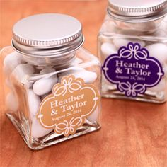 Personalized Square Glass Jar Favor - Favor Bottles - Favor Packaging - Wedding Favors & Party Supplies - Favors and Flowers Wedding Jars, Wedding Party Favors, Our Wedding, Fall Wedding, Wedding Ideas, Pretty Packaging, Best Day Ever, Perfect Party, Glass Jars