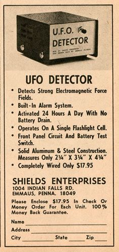 Late or early mail order advert for a UFO detector. Funny Vintage Ads, Funny Ads, Vintage Humor, Vintage Posters, Retro Vintage, Vintage Menu, Retro Posters, Funny Jokes, Old Advertisements