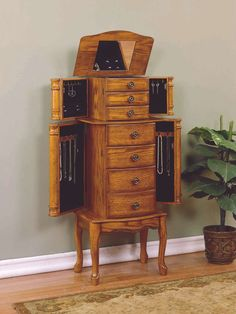 New Oak Wood Jewelry Box Chest Storage Cabinet Armoire Case 5 Drawers and Mirror Wall Mounted Jewelry Armoire, Jewelry Cabinet, Jewelry Wall, Jewelry Hanger, Jewelry Chest, Wooden Jewelry, Fine Jewelry, Standing Jewelry Box, Powell Furniture