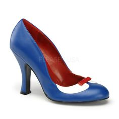 Pin Up Couture SMITTEN-05 Navy Blue-White Pu Pumps