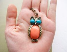 Owl Charm Long Necklace  Coral Blue Unique Vintage by cchmade, $6.99