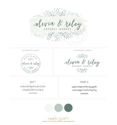 PreMade Botanical Logo design  Watercolor Logo  by IndieGrace