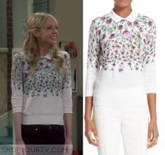 "The Big Bang Theory: Season 10 Episode 24 Ramona's White Flower Print Sweater | Shop Your TV Ramona Nowitzki (Riki Lindhome) wears this white long sleeved crew neck sweater with upside down flower print and collar in this episode of The Big Bang Theory, ""The Long Distance Dissonance"".  It is the Ted Baker 'Karn' Thistle Print Cotton Sweater."
