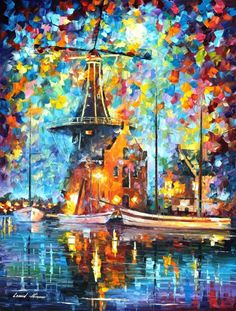 A Mill Near Amsterdam — Palette Knife City Modern Wall Art Oil Painting On Canvas By Leonid Afremov - Size: X Inches cm x 75 cm) Ecole Art, Leonid Afremov Paintings, Modern Wall Art, Oil Painting On Canvas, Beautiful Paintings, Art Oil, Amazing Art, Art Photography, Fine Art