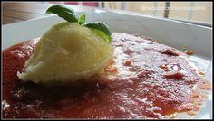 ...gelato all'olio extravergine di oliva Flaminio Delicato su passata di pomodoro... extra virgin olive oil ice cream on tomato sauce... by http://acquaefarina-sississima.blogspot.it