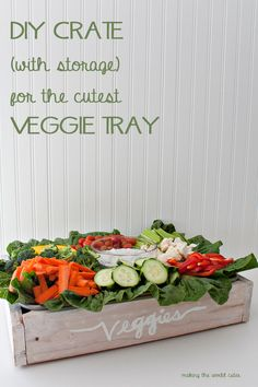 Super cute and creative way to display a veggie tray. Make this easy DIY veggie tray crate that stores extra veggies and makes it easy to transport.