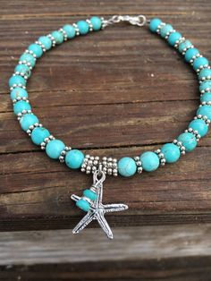 This beautiful beach anklet is made with turquoise howlite beads, silver plated beads, and a silver plated starfish charm. Beach anklet comes in several sizes. Just choose your size in the drop down menu at checkout. Dont see your size? No problem! Nautical Jewelry, Beach Jewelry, Sea Glass Jewelry, Turquoise Jewelry, Jewelry Gifts, Jewelry Accessories, Handmade Jewelry, Jewelry Ideas, Stone Jewelry
